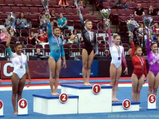 gymnasts on awards stand
