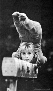 Soviet gymnast Olga Korbut on balance beam